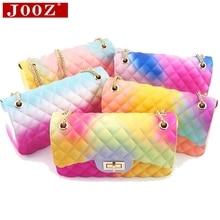 JOOZ Classic luxury brand designer handbag women fashion gradient color shoulder bag ladies jelly PVC Messenger bag Sac A Main jooz brand women 100