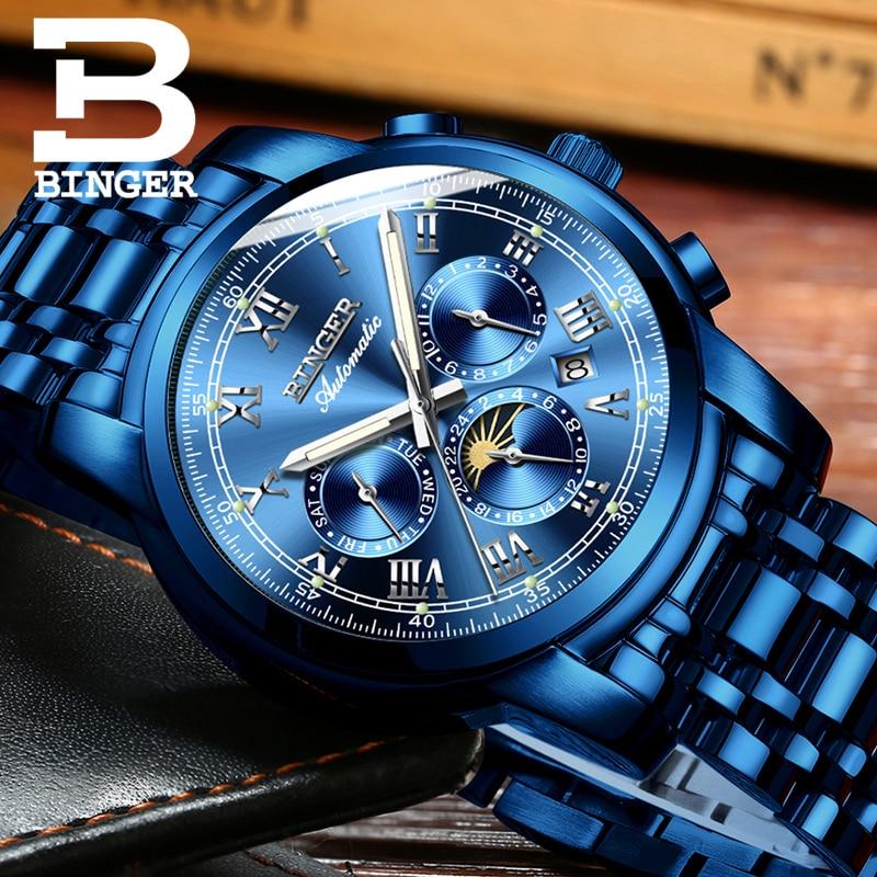 BINGER montres mécaniques pour hommes, montres mécaniques de luxe, remontage automatique,