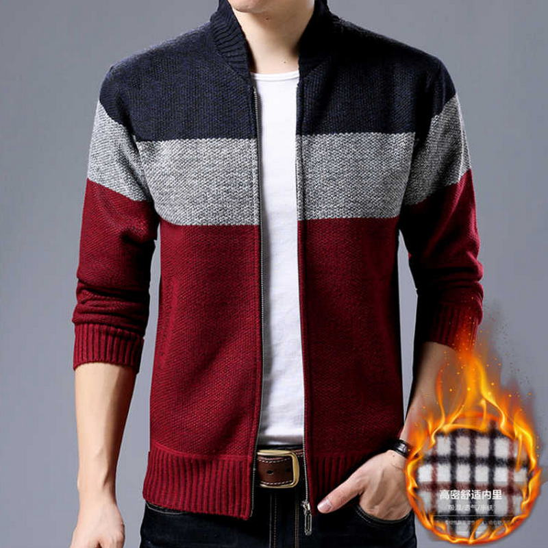 2019 Hot Sale Brand-Clothing Spring Cardigan Male Fashion Quality Cotton Sweater Men Casual Navy Redwine Mens Sweaters