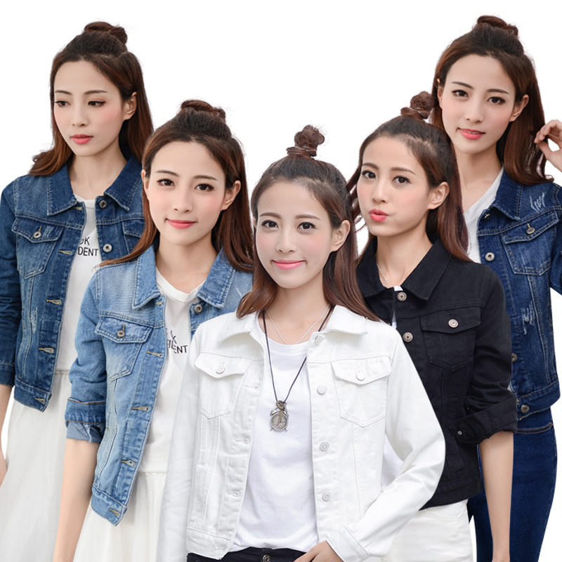 Denim Jacket White And Black Color Women Jacket Female Long Sleeve Jacket Korean Slim Fit