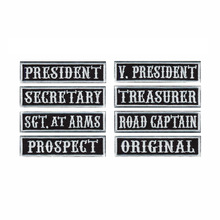 Patches Outlaw Bikers Embroidered PRESIDENT Motorcycle SECRETARY 8pcs-Pack for Riding-Clubs