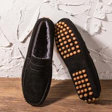 Moccasins Driving-Shoes Slip-On loafer Casual-Shoes Black Big-Size Mens 11 Plush Fur