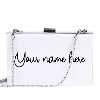 цена на New Personalized Acrylic Bag Monogram Clutch Purse Bridesmaid Handbags Party Prom Evening Bag Mrs Clutch Bride Box Shipping Free