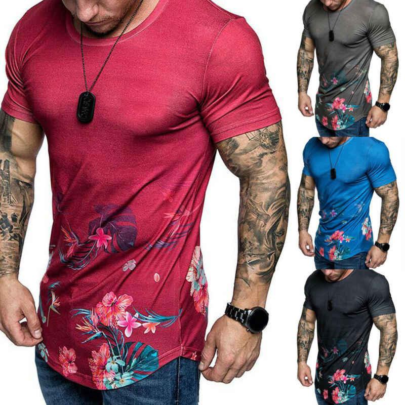 Männer Slim Fit O Hals Kurzarm Blume Muscle T T-shirt Casual Tops Männlich Oansatz Gedruckt Top Tees Kleidung