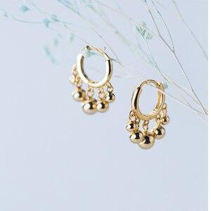 Серьги-Обручи из стерлингового серебра 925 пробы с маленькими круглыми шариками позолоченные серьги-кольца для женщин ювелирные украшения