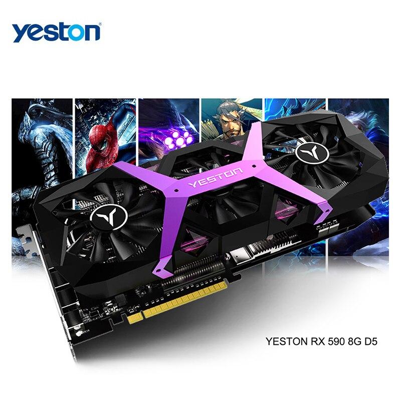 Yeston Radeon RX 590 GPU 8 GB, GDDR5 256bit, ordinateur de jeu, PC, support de cartes graphiques DVI/HDMI, PCI-E X16 3.0