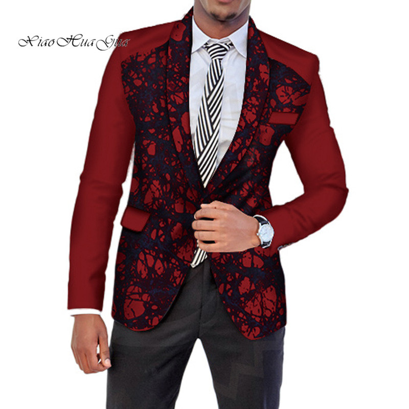 African Men Clothing Dashiki Bazin Riche Ankara Suit Jackets Formal Suits Tops Coat Dashiki Party Wedding Suits Blazer WYN512