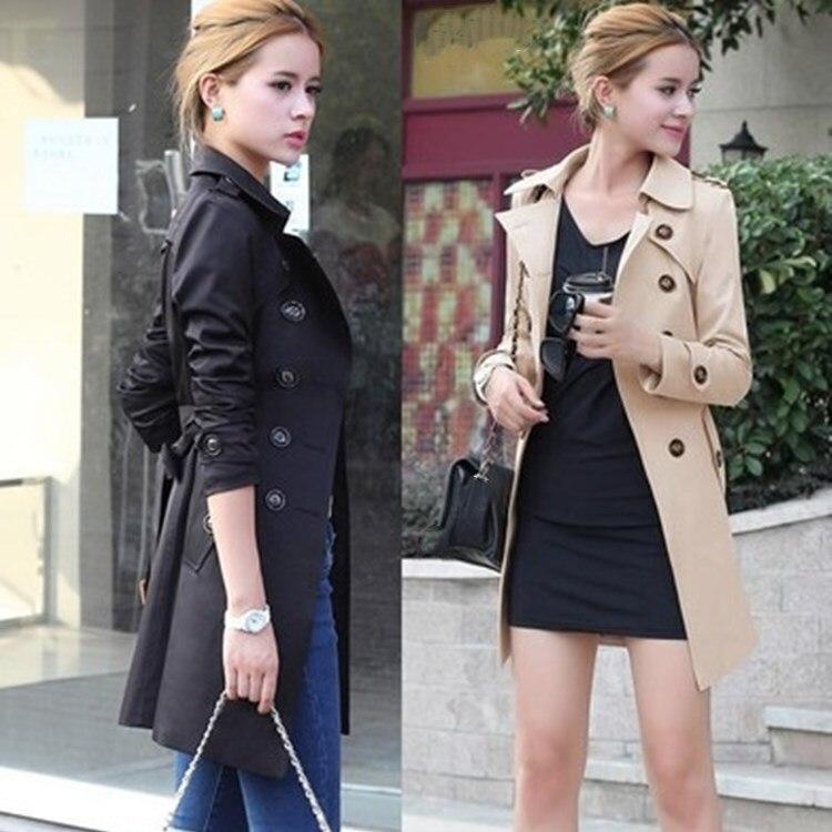 New Sashes Autumn Women Slim Overcoat Casual Medium-Long   Trench   Coat Adjustable Waist Pockets Plus Size 4Xl Outerwear