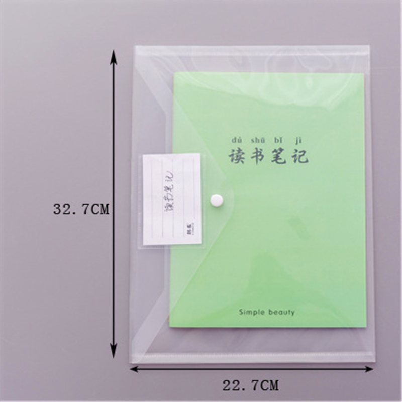 YOUE SHONE 1Pcs A4 Creative Simple Transparent Snap File Bag Plastic Information Bag Student Office Supplies Storage