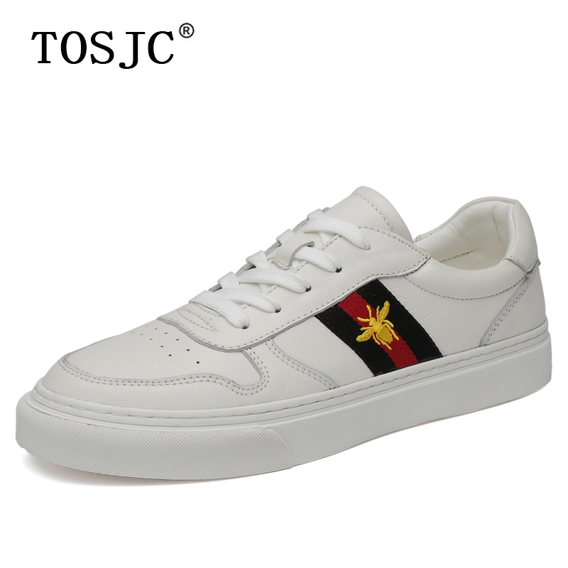 TOSJC Brand High Quality Mens Skateboarding Shoes Genuine Leather Sneakers Breathable Man Skateboard Shoes Casual Trainer Shoes