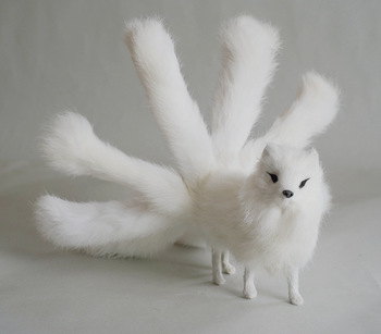 new real life nine-tails fox model plastic&furs white standing fox doll gift about 30x12.5cm xf2800