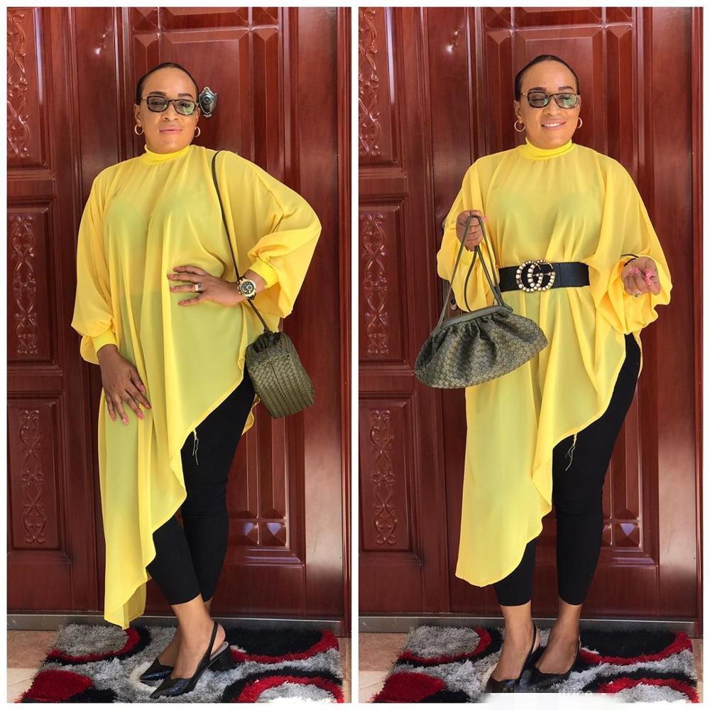 New Style African Women Clothing Dashiki Fashion Pure Color Chiffon Irregular Hem Loose Dress Size S - 5XL   ML542