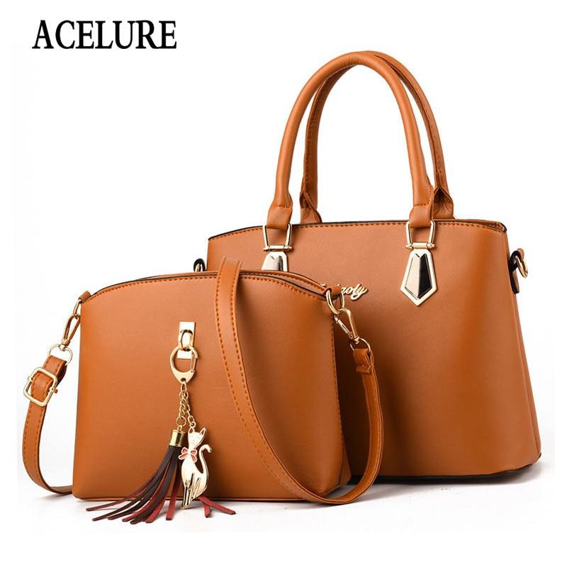ACELURE Cute Cat Sequined Pendant Women Handbags + Purse Solid Color Tassel PU Leather Designer Shoulder Crossbody Bag Sets
