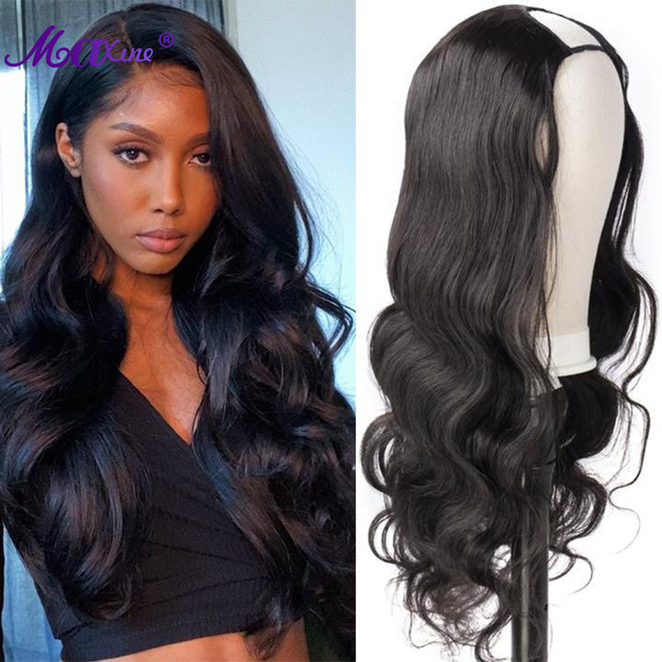 Onda do corpo u parte peruca perucas de cabelo humano para preto feminino longo brasileiro u parte peruca onda do corpo remy cabelo 30 Polegada médio u forma perucas