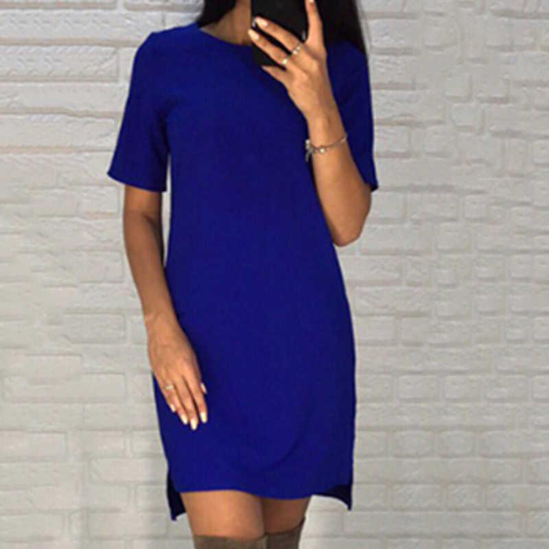 Yeni rahat gömlek düz renk o-boyun kısa kollu ince Mini ofis elbiseler 2019 yeni zarif kadın Bodycon ince kalem elbise
