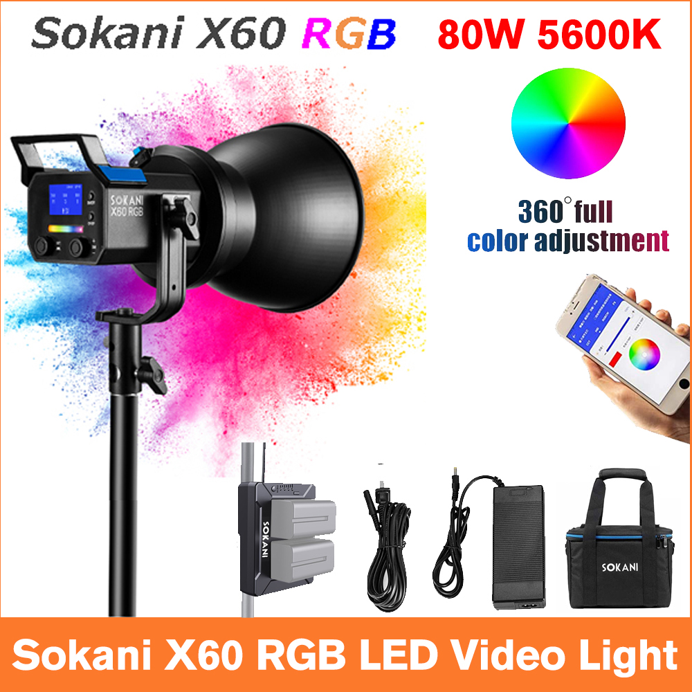 Sokani X60 V2 RGB LED Video Light 5600K Daylight 80W Photo Studio Lighting for Outdoor Photography Video Recording Studio