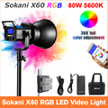 Sokani X60 V2 RGB LED Video Light 5600K Daylight 80W Photo Studio Lighting for Outdoor Photography Video Recording Studio