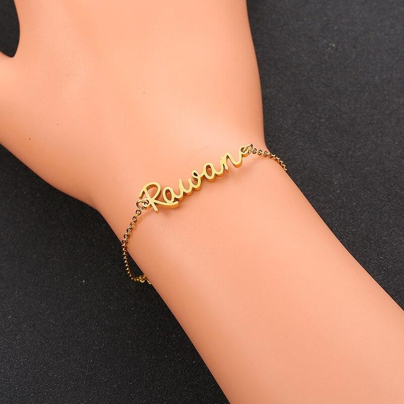 Adjustable Custom Bracelet Personalized Name Handmade Women Kids Stainless Steel Engraved Letter Charms Bracelet Bangle  Jewelry