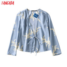 Tangada women retro floral print blouse bow long sleeve chic