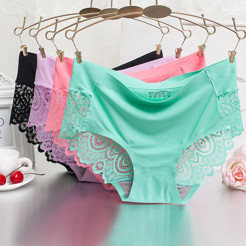M L XL Plus Size Sexy Hollow Briefs Cool Comfortable   Panties   Women Lace Underwear Silk