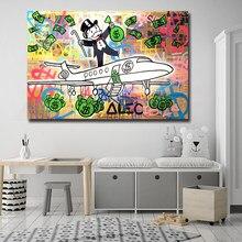 Ev dekor tuval Alec tekel baskı Graffiti posteri boyama uçak Moderne para duvar sanatı oturma odası dolar modüler resim