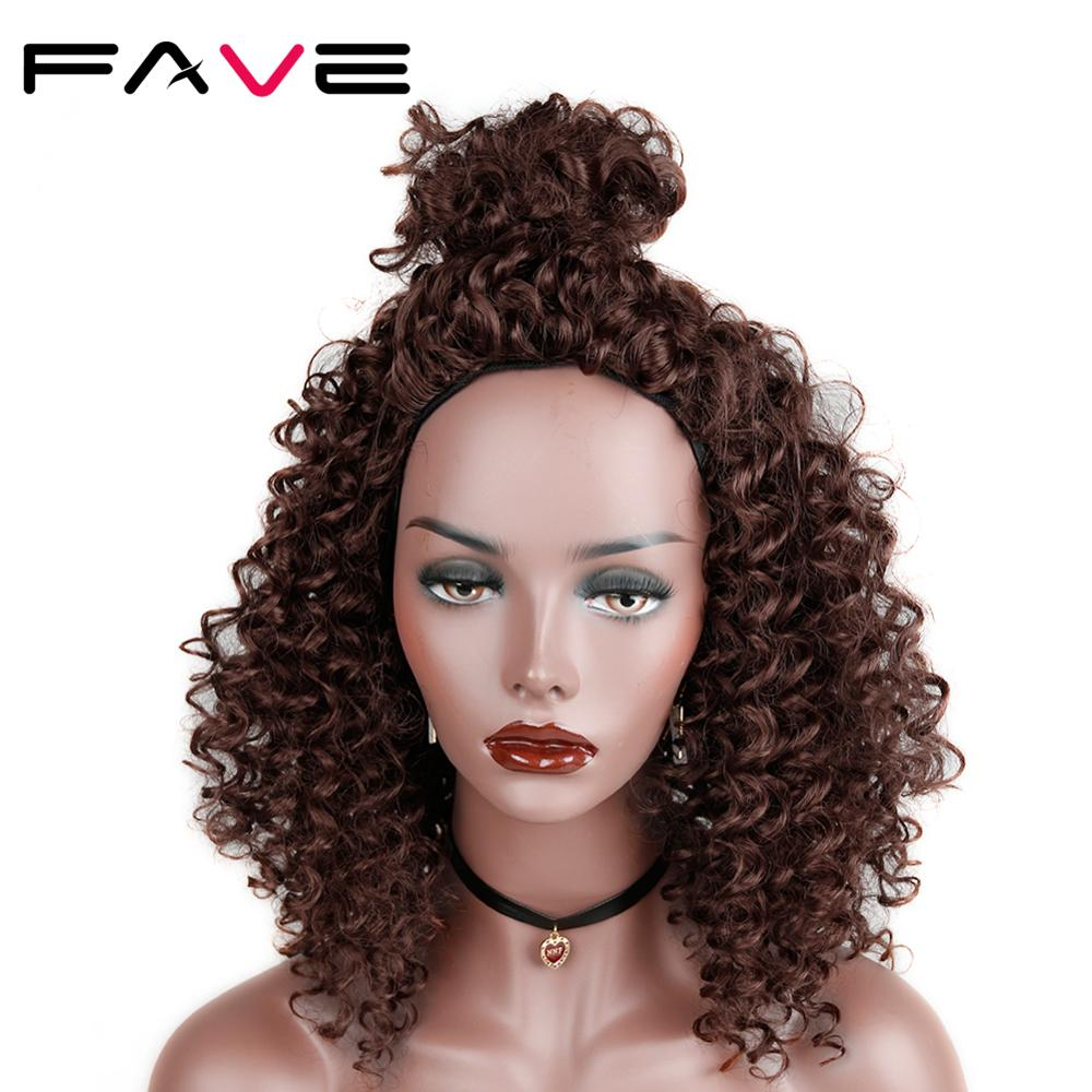 FAVE Short Synthetic Wig Afro Kinky Curly Wig Black Dark Brown /Blue/Gray/Purple16 INCH Wigs For Black Women Daily Cosplay Wig