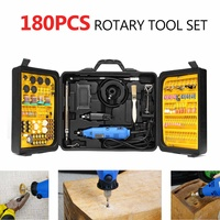 220V 180W Rechargeable Electric Drill Grinder Engraver Mini Sander Polisher With 180 Pcs Rotary DIY Power Polishing Tool Set