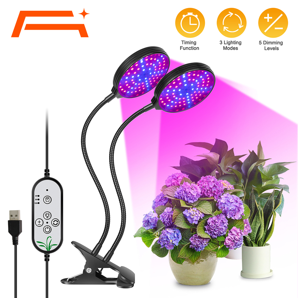 A+ Grow Light, 5 Dimmable Levels Plant Grow Lights for Indoor Plants with Red Blue Spectrum, 3 Modes Timing Function