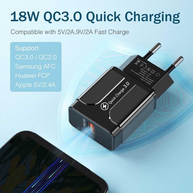 شحن سريع 3.0 18 واط QC 3.0 4.0 شاحن سريع USB محمول شحن شاحن الهاتف المحمول آيفون 7 8 Plus X XR XS ماكس سامسونج