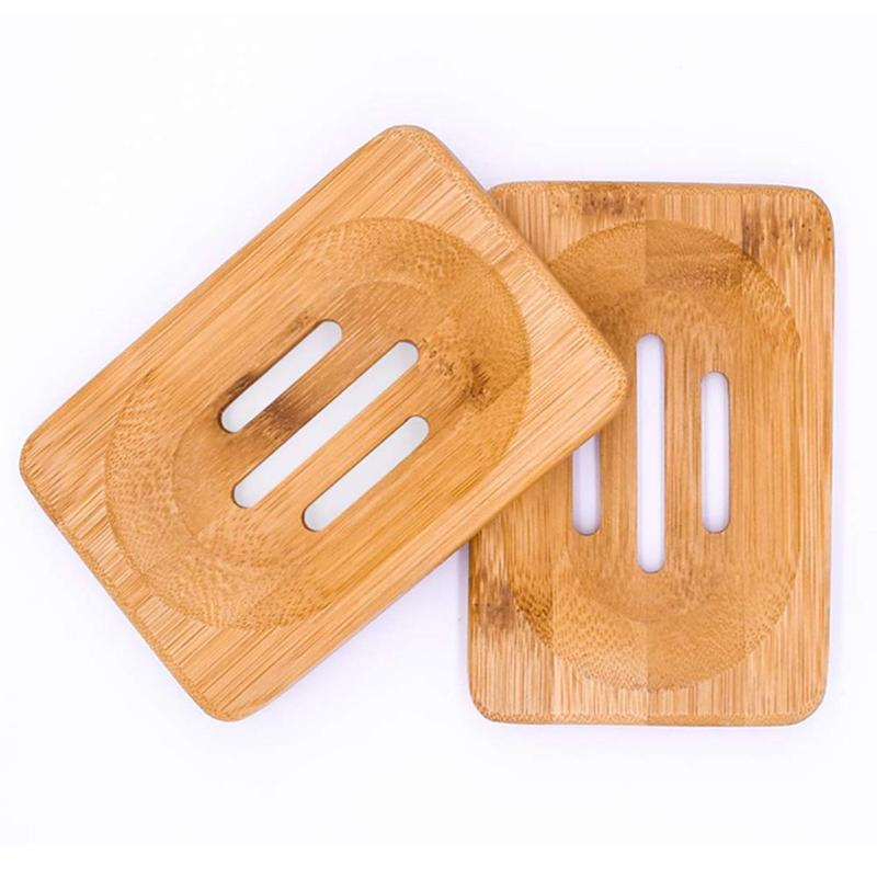 Handmade Wooden Bamboo Soap Dish Tray Case Bathroom Cleaner Shower Holder