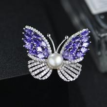 KingDeng Butterfly Brooch Natural Pearl Zircon Brooch Jewelry Luxury Lapel Pin Trendy Gifts for Women Purple Personalized Bling trendy rhinestoned faux pearl brooch for women