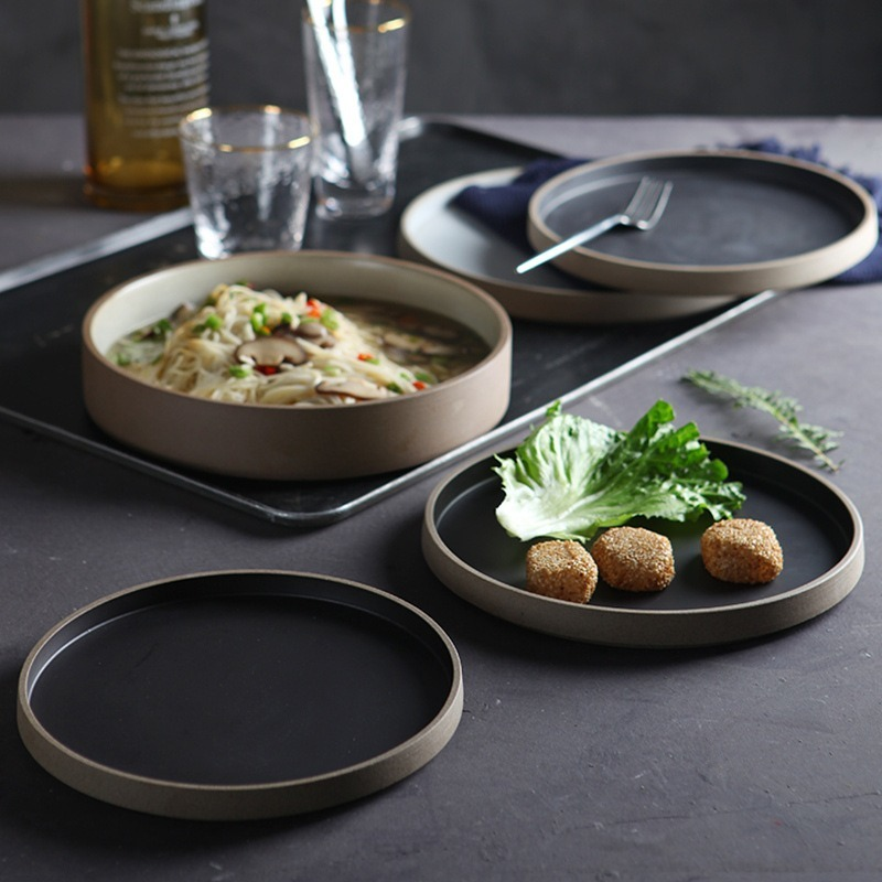 FANCERTYNordic Style Tableware Breakfast Creative Steak Late Flat Plate Western Dish Household Large Disc Dishes and Plates Sets