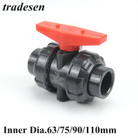1pc PVC Ball Valve Union Valve PVC Water Pipe Connector Plumbing Hose Fittings Slip Shut Valve Inner Dia63mm 75mm 90mm 110mm