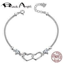 Romantic Adjustable 925 Sterling Silver Purple/White Zircon Double Heart Bracelet for Women Wedding Fine Jewelry
