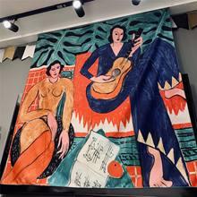 Guitarra mulher matisse tapeçaria arte boêmio parede pendurado boêmio impresso tecido de microfibra decoração para casa colcha