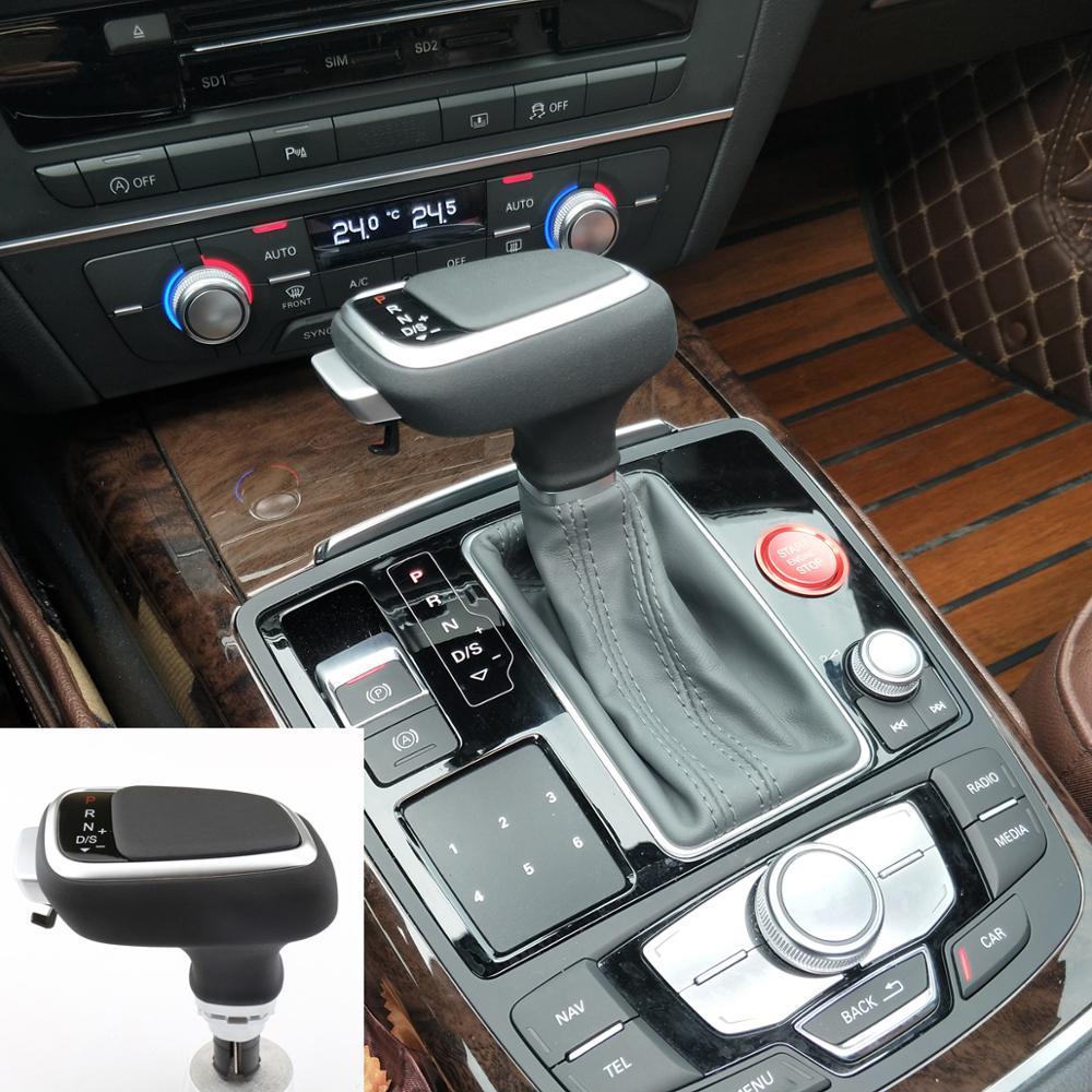 Para audi a4 a5 a6 a7 para q5 q7 para s5 s6 couro apertos do carro transmissão automática apertos de mudança de engrenagem cabeça da haste do deslocamento de engrenagem botão