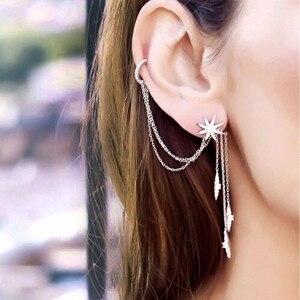 Image 1 - SLJELY marka 925 srebro grzywny projektant mikro cyrkonia długi Tassel gwiazda AB kolczyki kobiety moda seksowna biżuteria