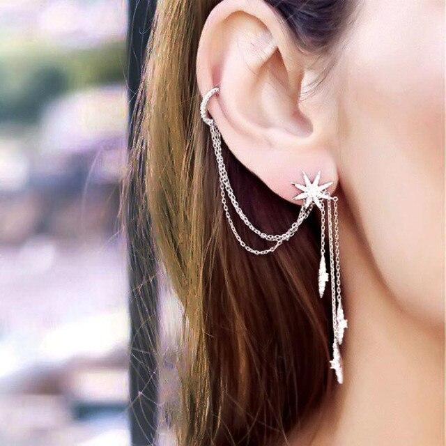 SLJELY marka 925 srebro grzywny projektant mikro cyrkonia długi Tassel gwiazda AB kolczyki kobiety moda seksowna biżuteria