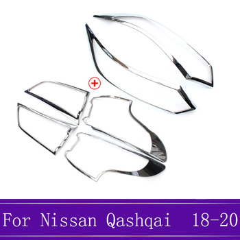 ABS Chrome Front Rear Head Light Lamp Headlight Eyelid Cover Trim Exterior Accessories Fit For Nissan Qashqai J11 2018 2019 2020