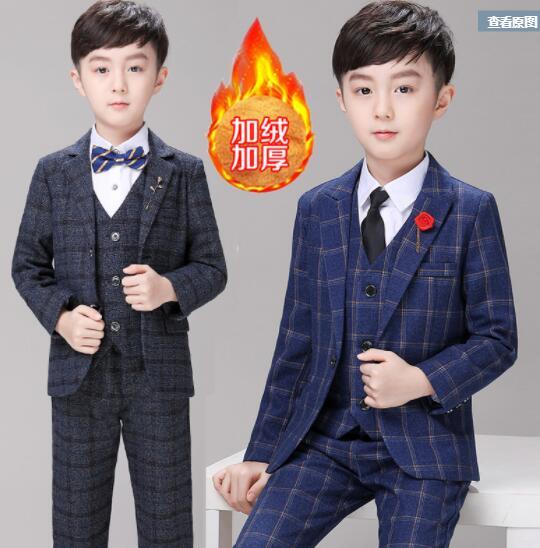 Classic Boys Suits for Weddings Formal Blazer Kids Tuxedo Shirt Vest Party Ring bearer Suits Black