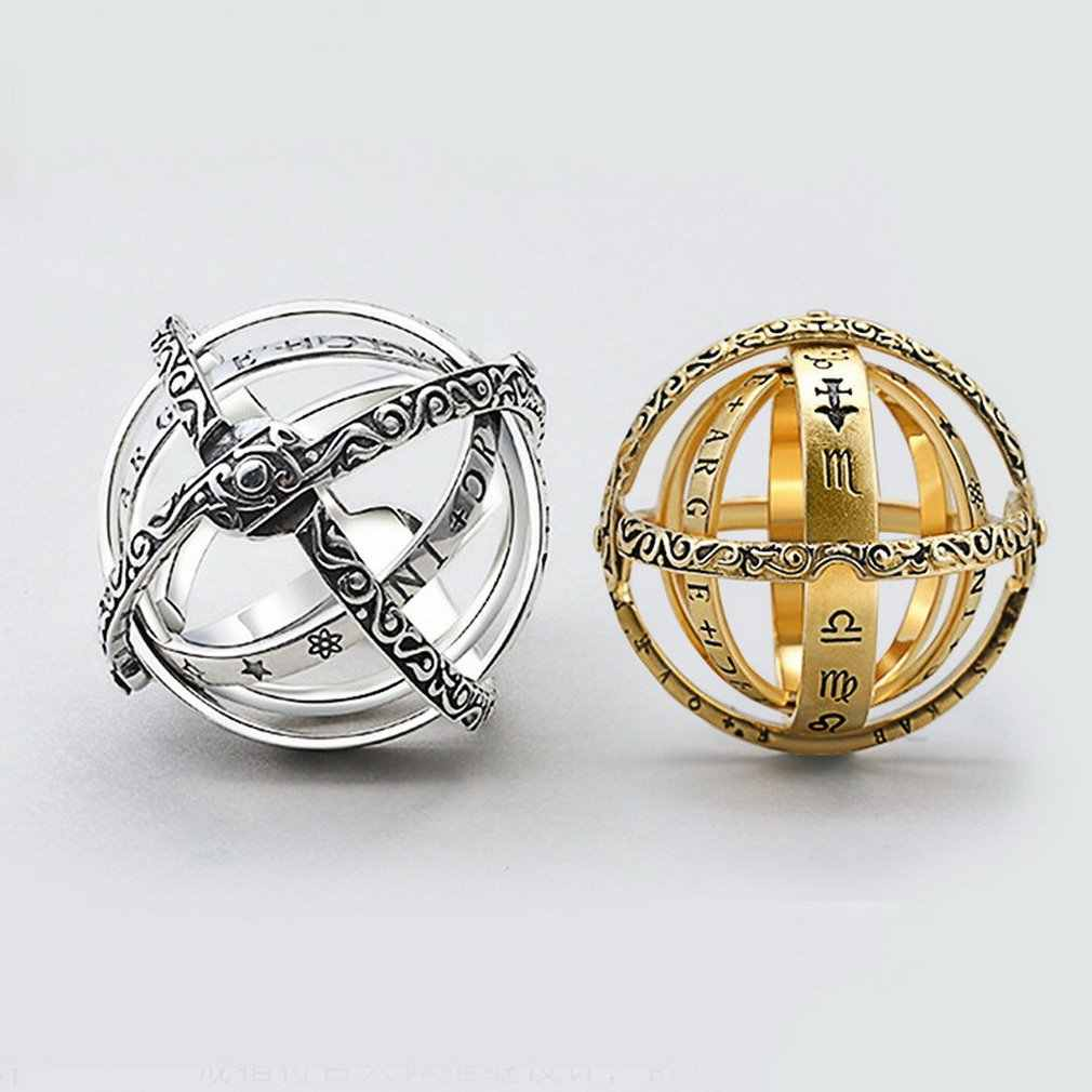 Gold Silver Sphere Rings Vintage Universe Planet Astronomical Ball Love Couple Ring Paar ring Hot