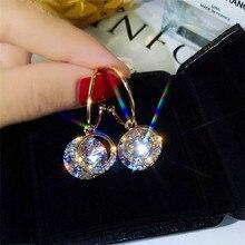 цена на 2020 Shiny Zircon Earrings Gold Semicircle Geometric Earrings Zircon Earrings for Women Fashion Jewelry Statement Earrings