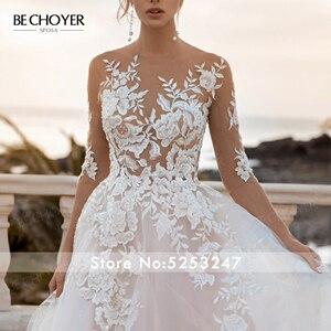 Image 3 - BECHOYER Fairy Pink A Line Wedding Dress 2020 Appliques Lace Court Train Princess Bridal Gown Illusion Vestido de Noiva FY76