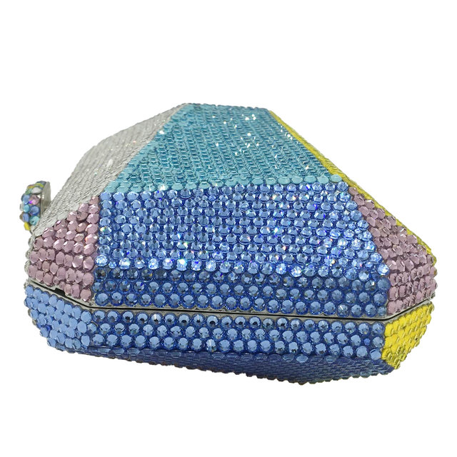 Multicolored Geometric Pattern Crystal Evening Clutch  4