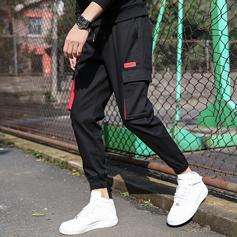 Pure Cotton Casual Pants MEN'S Ninth Pants Students Men's Trend Large Pocket Skinny Pants Workwear Pants