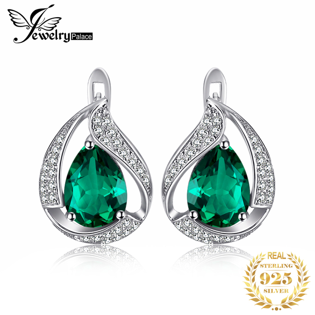 JewelryPalace Charm Water Drop 1.7ct Created Emerald Earrings For Women Solid 925 Sterling Silver Jewelry Nice Jewelry Gift