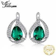 JPalace Created Nano Emerald Hoop Earrings 925 Sterling Silver For Women Gemstones Korean Earings Fashion Jewelry 2019