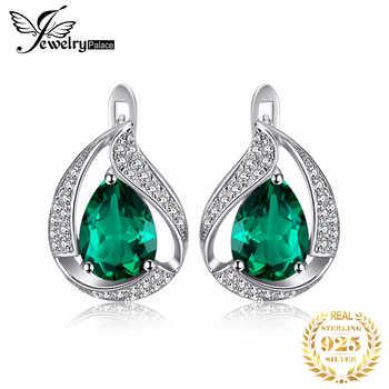JPalace Created Nano Emerald Hoop Earrings 925 Sterling Silver Earrings For Women Gemstones Korean Earings Fashion Jewelry 2019 - DISCOUNT ITEM  33% OFF All Category