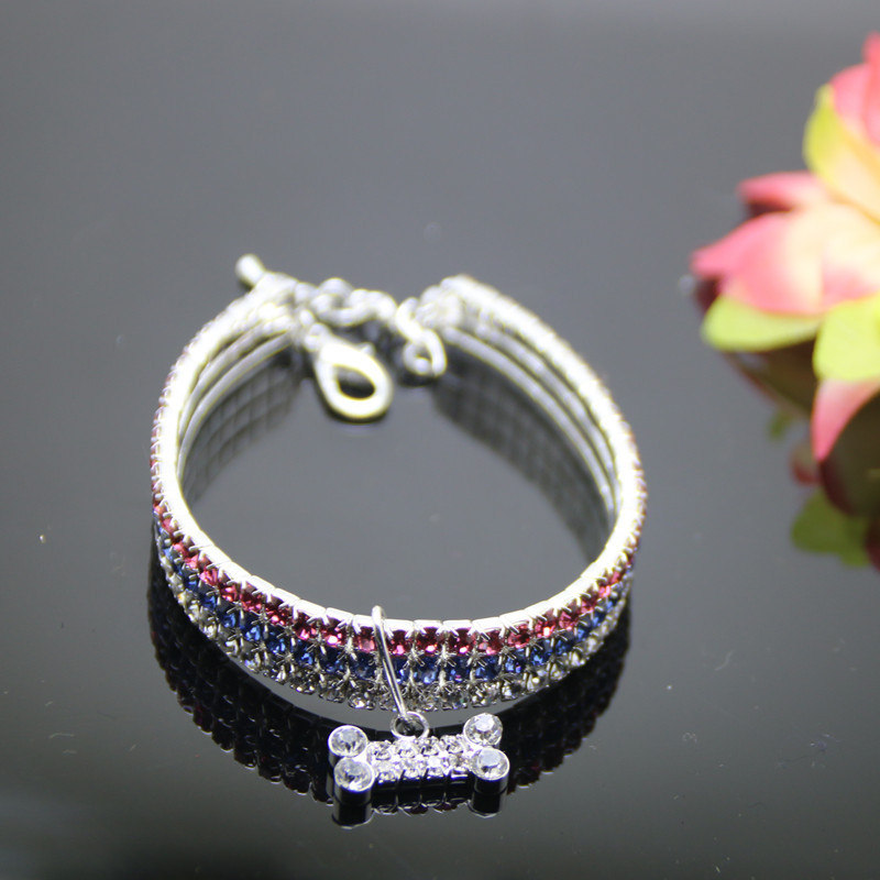 New Style Man-made Diamond Pet Collar Three Rows Gou Xiang Lian Accessories Teddy Small Medium-sized Dog