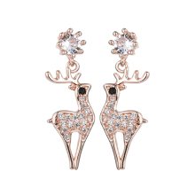 Cubic Zirconia Milu deer Imitation Pearls Charm Pink Crystal Eyes copper Plated Elk Sika Deers Stud Earrins